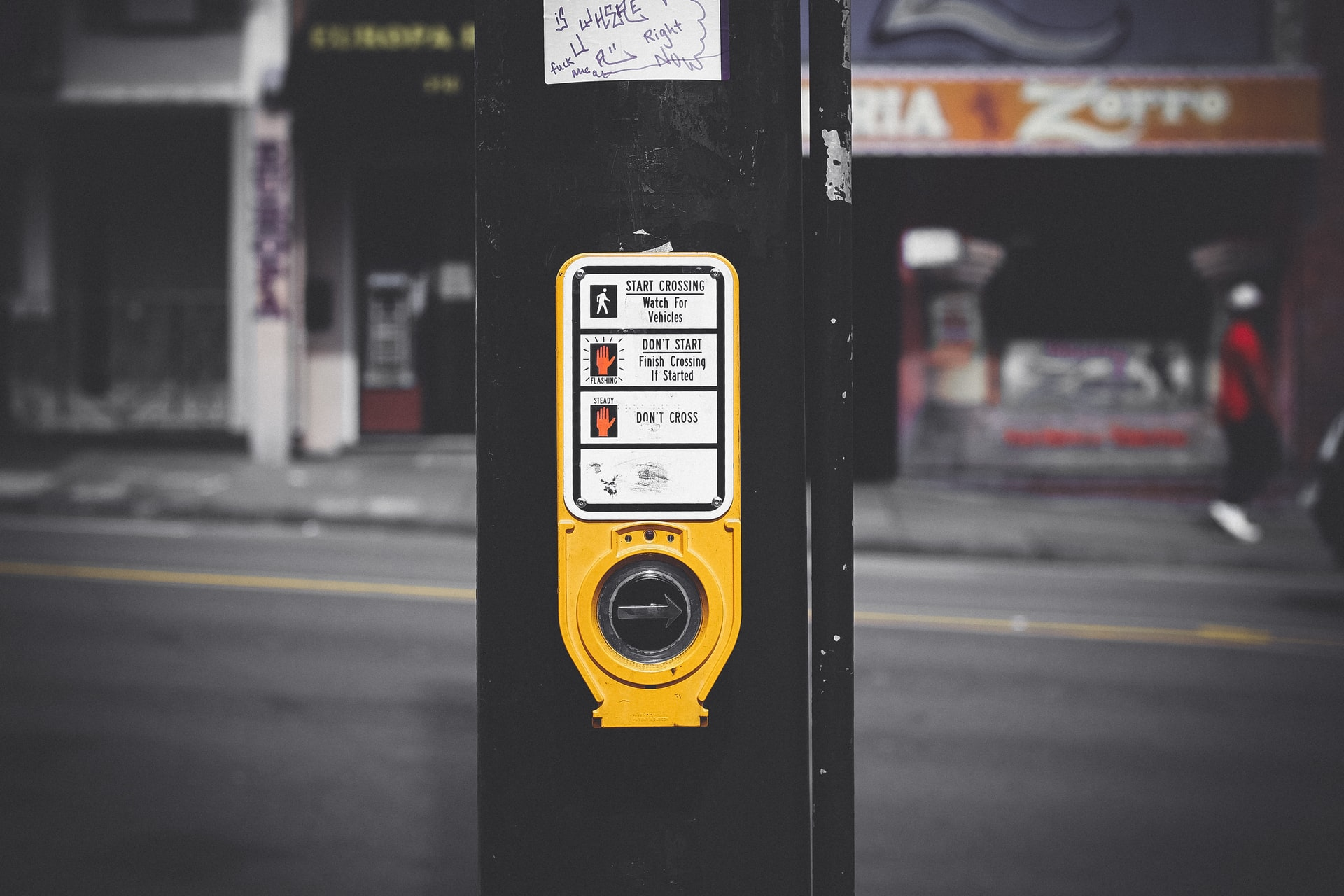 A button to activate a cross walk signal